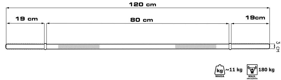 gryf prosty 120 cm, sztanga