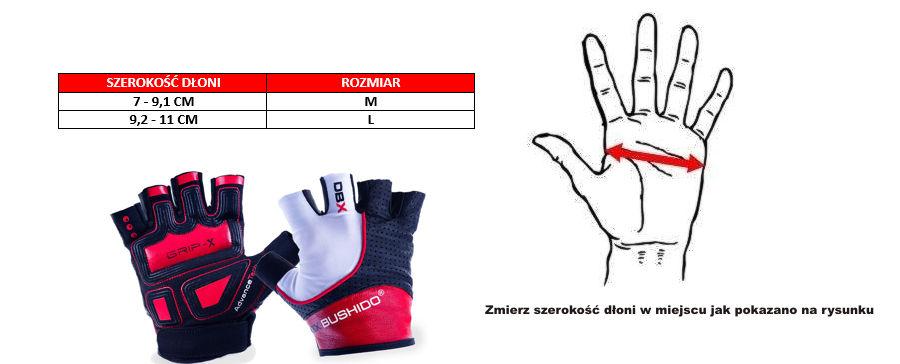 rękawiczki na siłownię - rozmiar